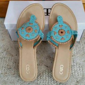 New! Turquoise Medallion Wedge Sandals
